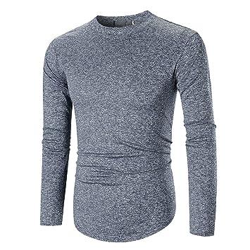 LuckyGirls Camisetas Casual Hombre Manga Larga Color Puro Gimnasio Fitness Sudaderas Camisas Moda Streetwear: Amazon.es: Deportes y aire libre