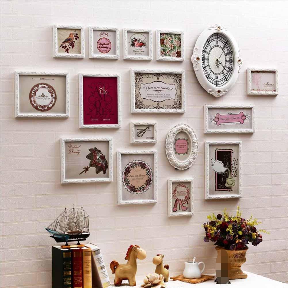 ZZZSYZXL Unregelmäßige geschnitzt aus Massivholz Wohnzimmer Schlafzimmer Fotowand 16 Sätze der kreativen Kombination Glocke