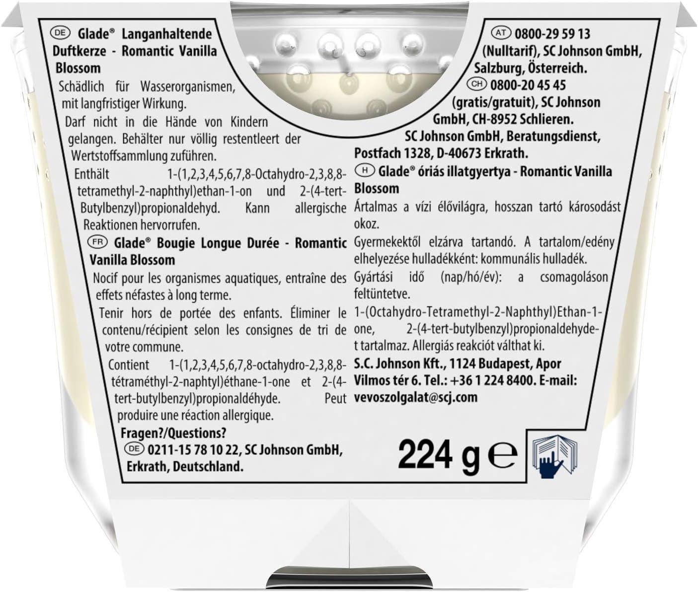 Langanhaltende Duftkerze im Glas Glade Brise 4 x 224g 4er Pack bis zu 39 Stunden Brenndauer Cherry /& Peony