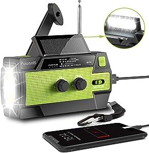 [2020 New Version] Emergency-Hand-Crank-Radio,4000mAh Portable Weather Solar Radios with Motion Sensor Reading Lamp,3 Gear LED Flashlight,SOS Alarm,Cell Phone Charger,AM/FM/NOAA (Green)