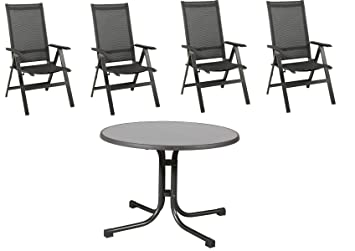 Salon de jardin 4 chaises pliables Acamp Urban Anthracite carbone et ...