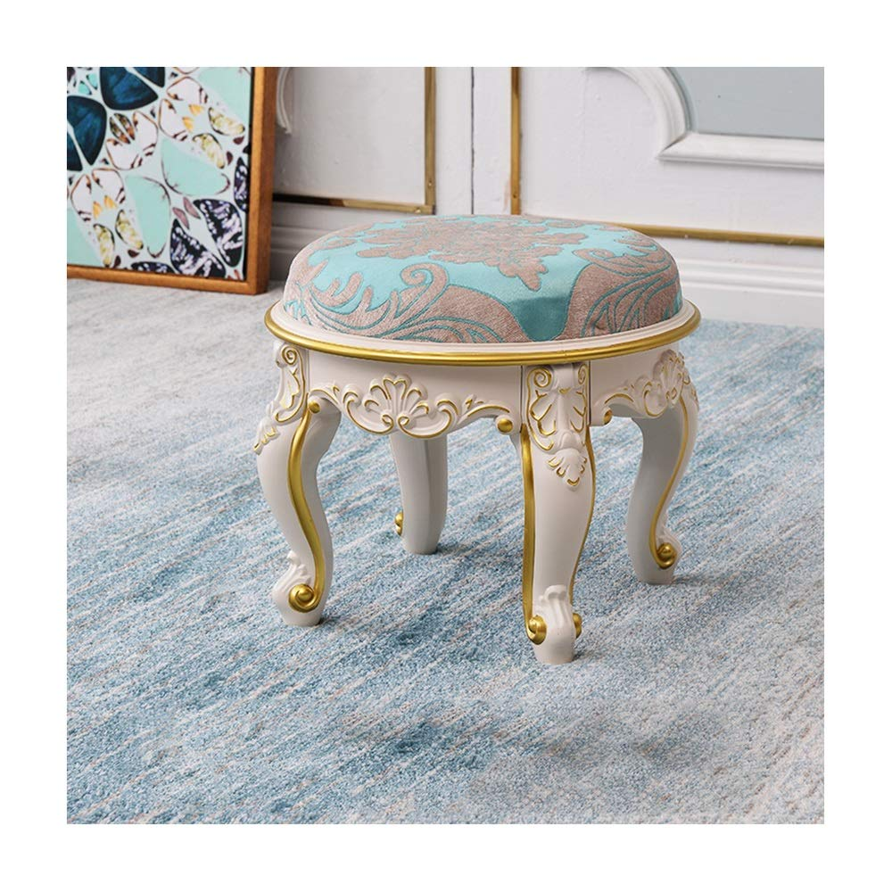AO-stools European Coffee Table Stool Fabric Small Stool Home Living Room Children Mini Bench Carved Round Leather Bench for Shoes Bench (Color : B)