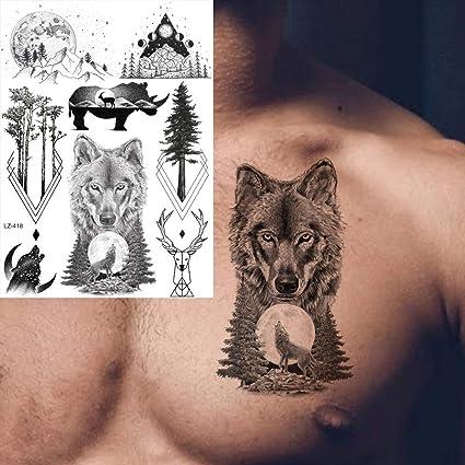 MRKAL Tatuaje Falso Tatuaje 3D Transferencia De Agua Falsa Hombres ...