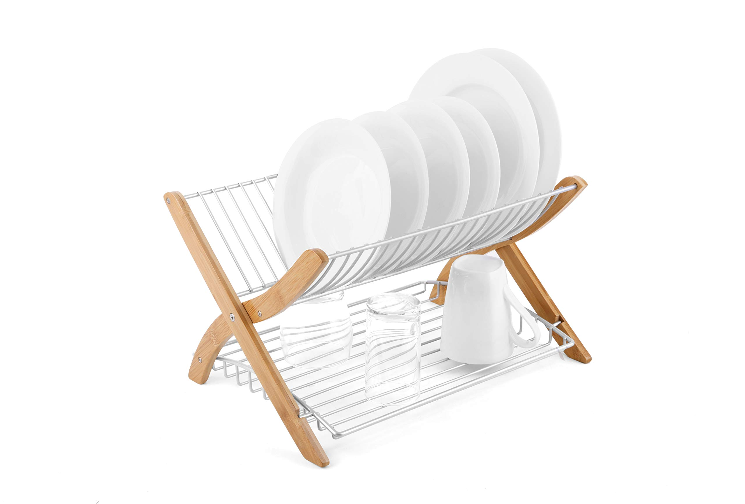 Umbra Dish Drying Rack - (Nickel/Wood Finish) Collapsible Dish Drainer and Foldable Drying Rack for Kitchen Counter That Dries your Dishes Twice as Fast