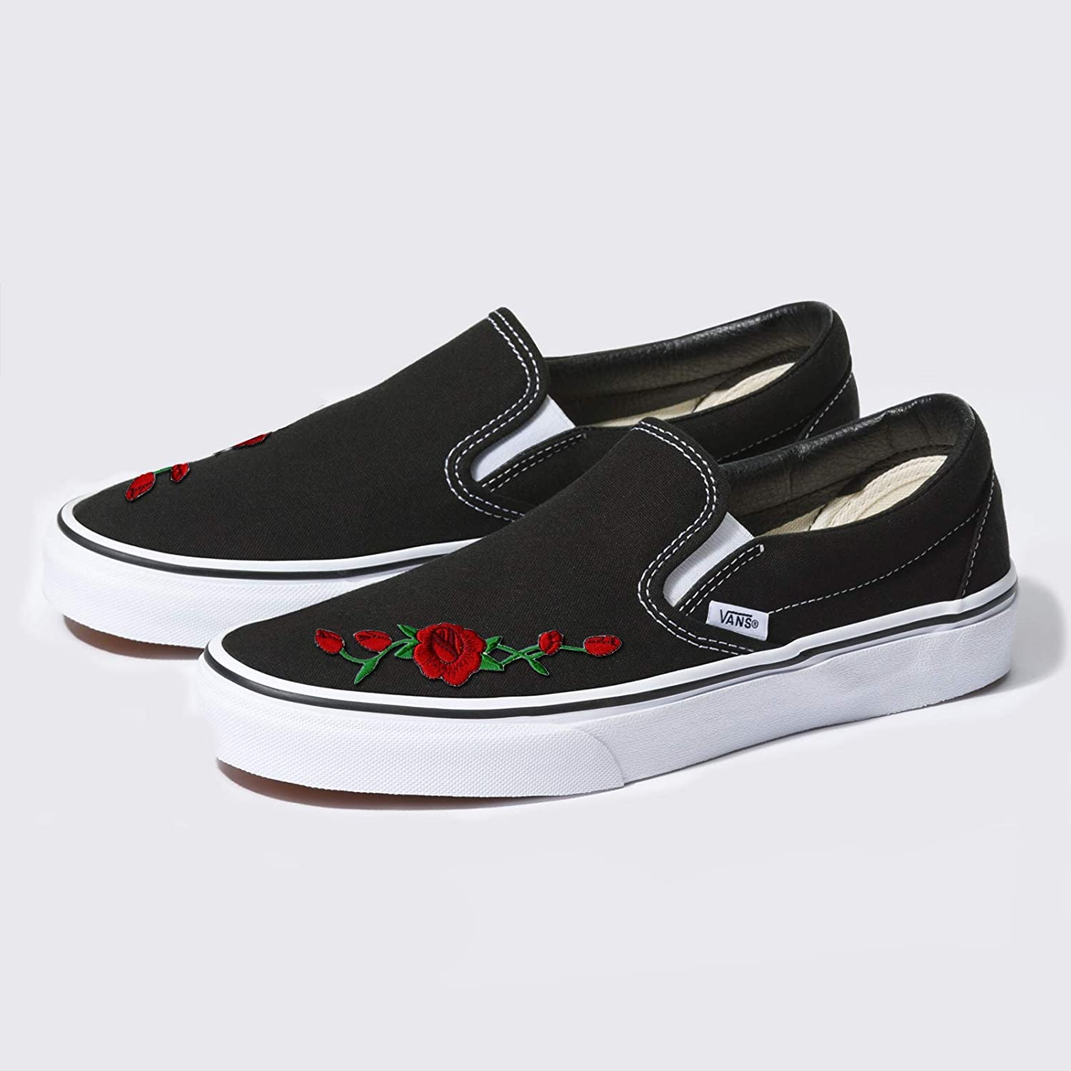 Amazon.com: Custom Black Slip-On Vans Embroidered Red Rose ...