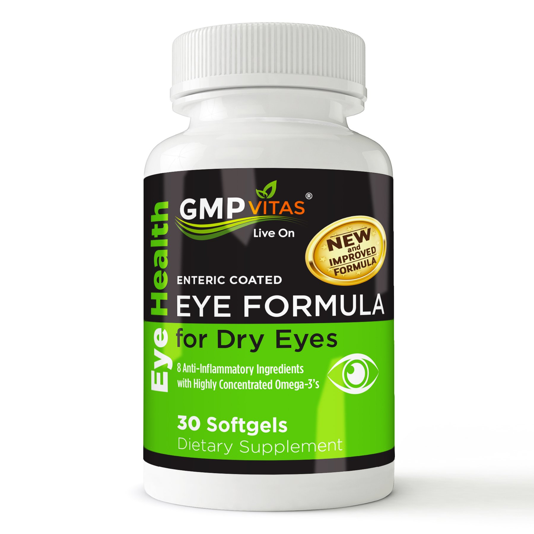 GMPVitas Enteric Coated Eye Formula- High Potency Omega-3 Supplement with Lutein, Astaxanthin Hyaluronic Acid, Vitamin C and E (3) by GMP Vitas (Image #3)