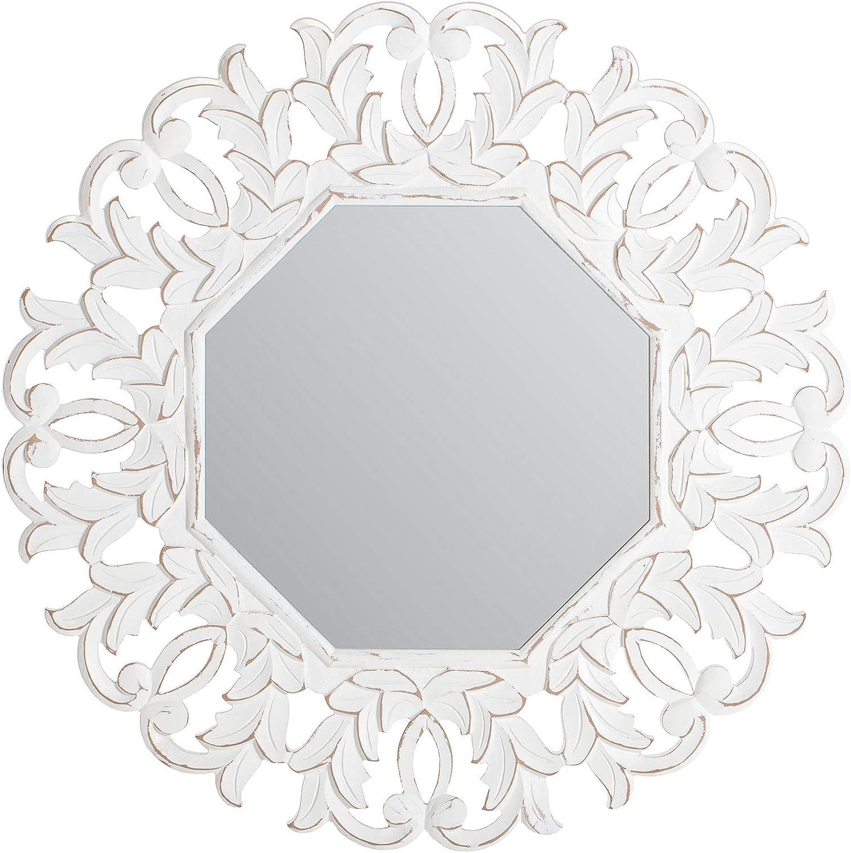 Fetco Tull Decorative Mirror, Distressed White