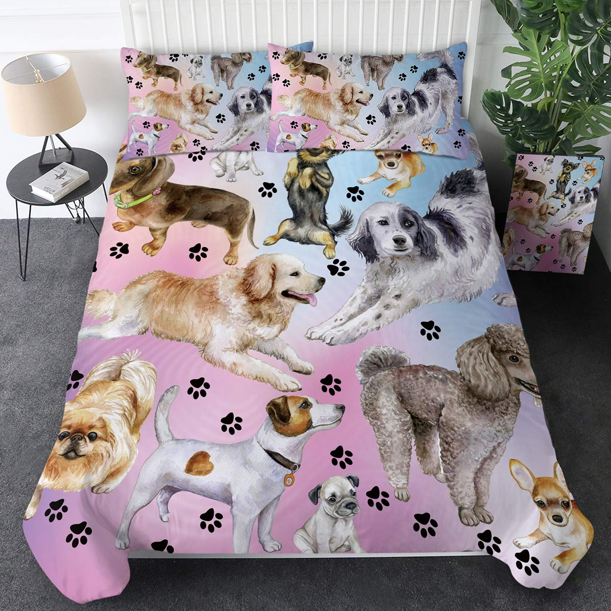 Sleepwish Puppy Dog Bedding Animals Duvet Cover Set 3 Pieces Comforter Quilt Cover Zipper Closure Corner Ties Dog Lover Microfiber Luxury Set (Pastel Purple Dog Paw Print,Twin)