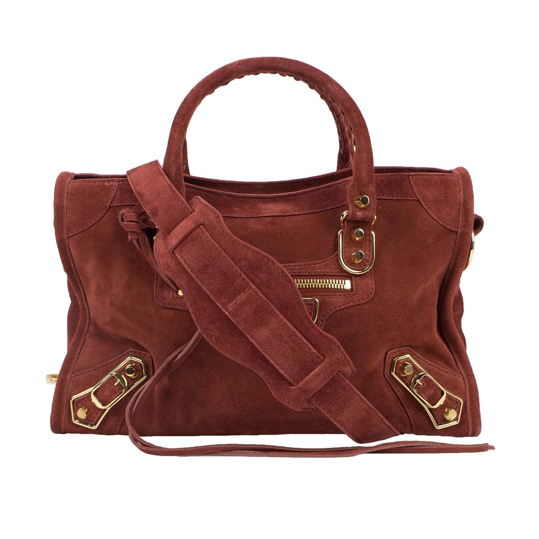 b5fae165e9cd Amazon.com   Balenciaga Brown Suede Leather Metallic City Small AJ Satchel  Bag   Baby