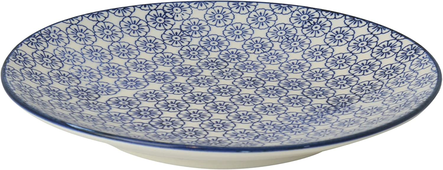 Nicola Spring Patterned Side / Dessert Plate - 180mm (7 Inches) - Blue Flower Design