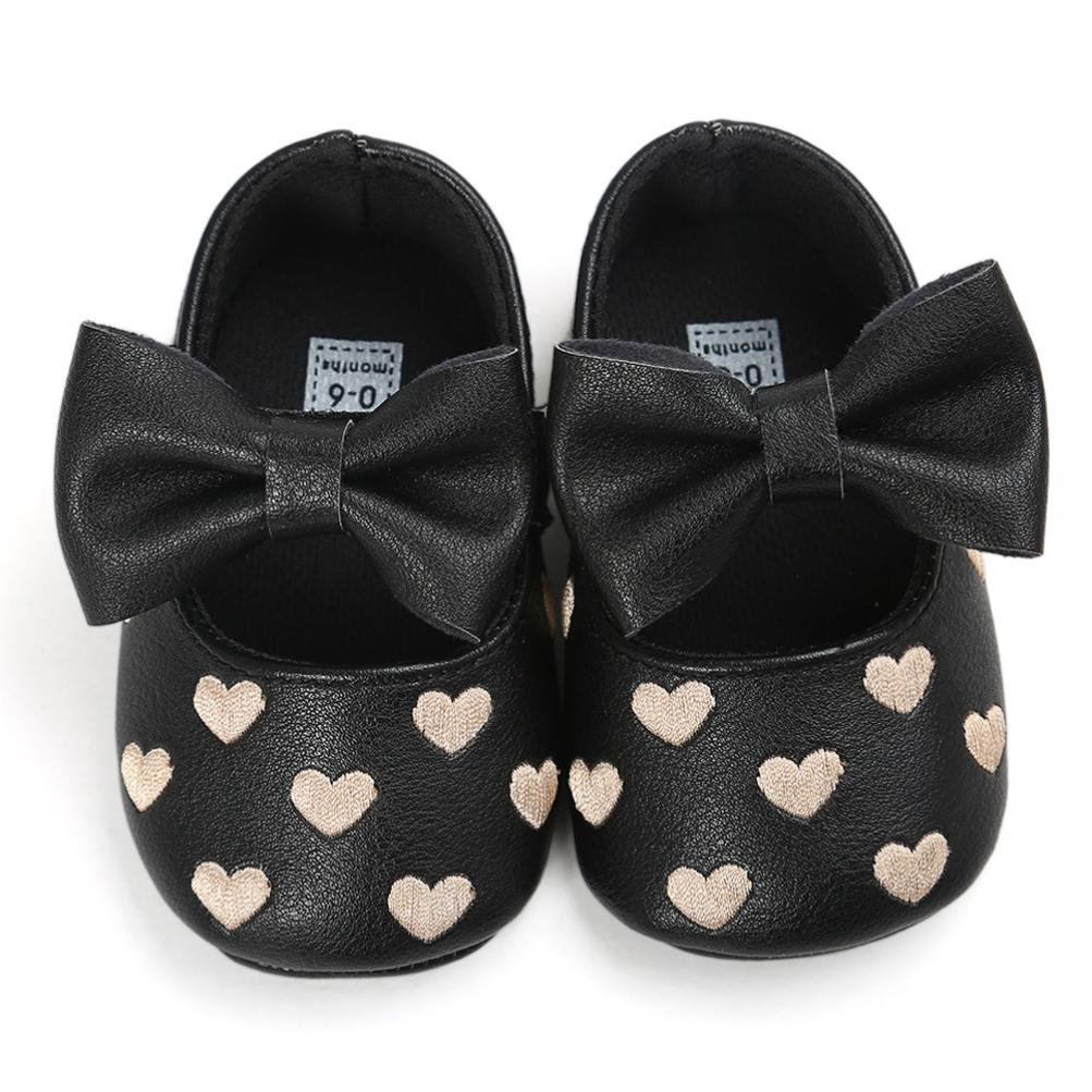 Shoes For 0-18 Months Kids squarex Baby Girl Bowknot Leather Shoes Sneaker Anti-slip Soft Sole Toddler 0-6 Months, Gold