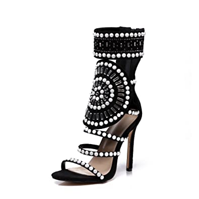 b185bc7d9d9ea0 azmodo Strappy High Stiletto Heel Dress Gladiator Peep Toe Sandals  813-10(US 5.5
