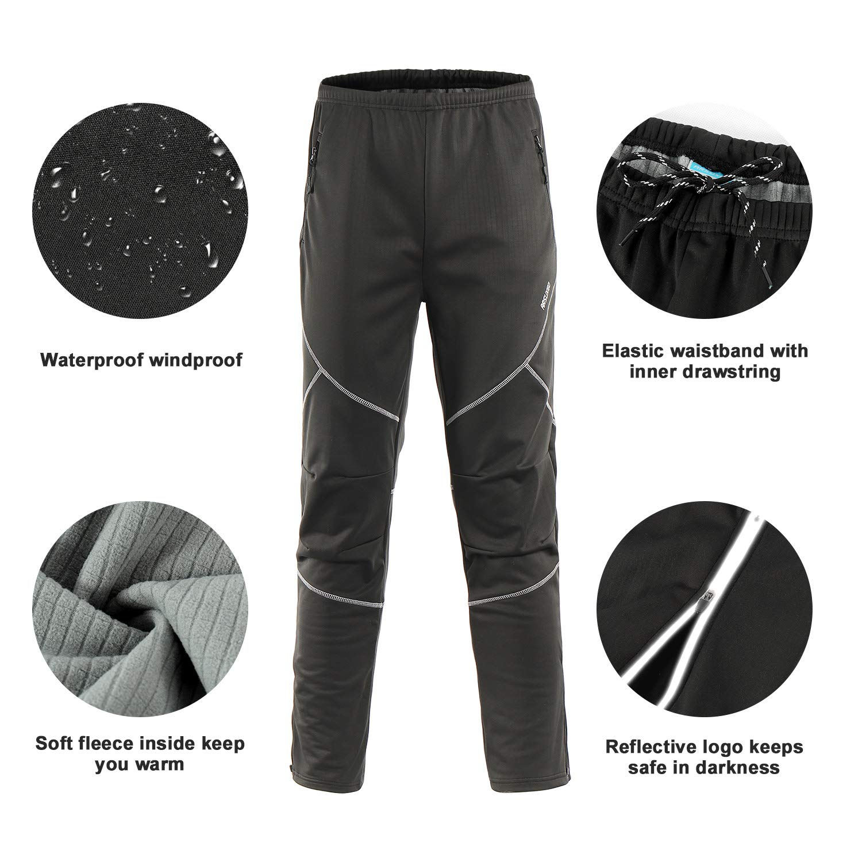 ARSUXEO Mens Winter Warm Up Thermal Fleece Running Bike Cycling Pants Multi Sports Windproof Waterproof 18Y