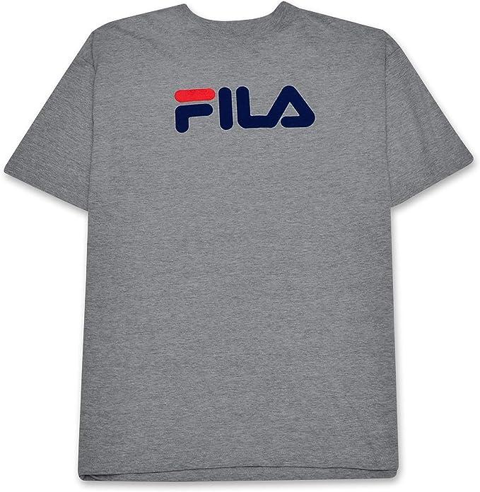 Fila Camiseta de Manga Corta y Alta con Estampado clásico de Logo para Hombre 2X-Alto Cuero Gris: Amazon.es: Ropa y accesorios
