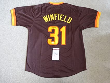 best loved f518c 8db89 DAVE WINFIELD SIGNED AUTO SAN DIEGO PADRES BROWN JERSEY JSA ...