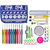 OldShark 2mm to 8mm 11 Sizes Crochet Hooks, Ergonomic Rubber Grip Knitting Needles, with 79 Accessories, Full Size Crochet Kits with Organizer Case Blue