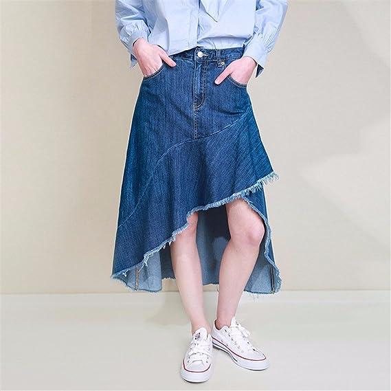 YUCH Falda Media para Mujer Faldas Largas Medias Irregulares con Flecos   Amazon.es  Ropa y accesorios 091c3cad656f