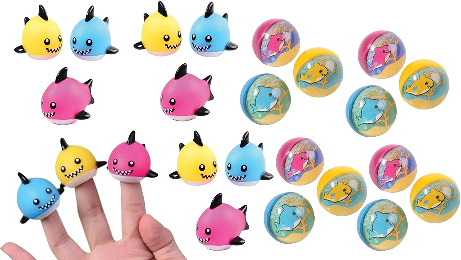 Little Shark Pup Finger Puppets and Rubber Bounce Ball Toy Favors Bundle for Kids Birthday Party or Baby Shower (24 Pieces).