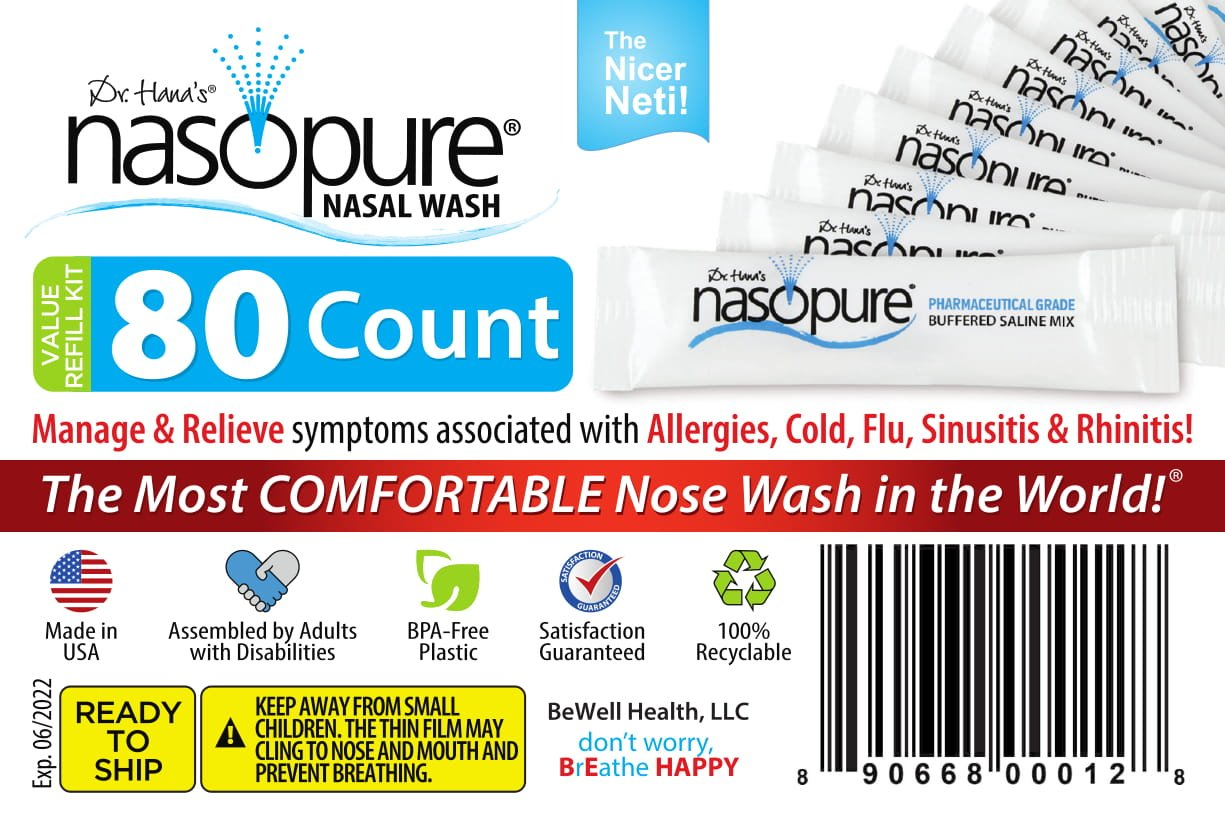 """Dr. Hana's Nasopure The """"Nicer Neti Pot""""   Value Refill Kit   80 Buffered Salt Packets   Allergy and Congestion Relief Nasal Wash"""