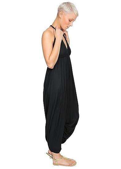 85952e4f3e Halter Harem Jumpsuit Black (One Size)  Amazon.co.uk  Clothing