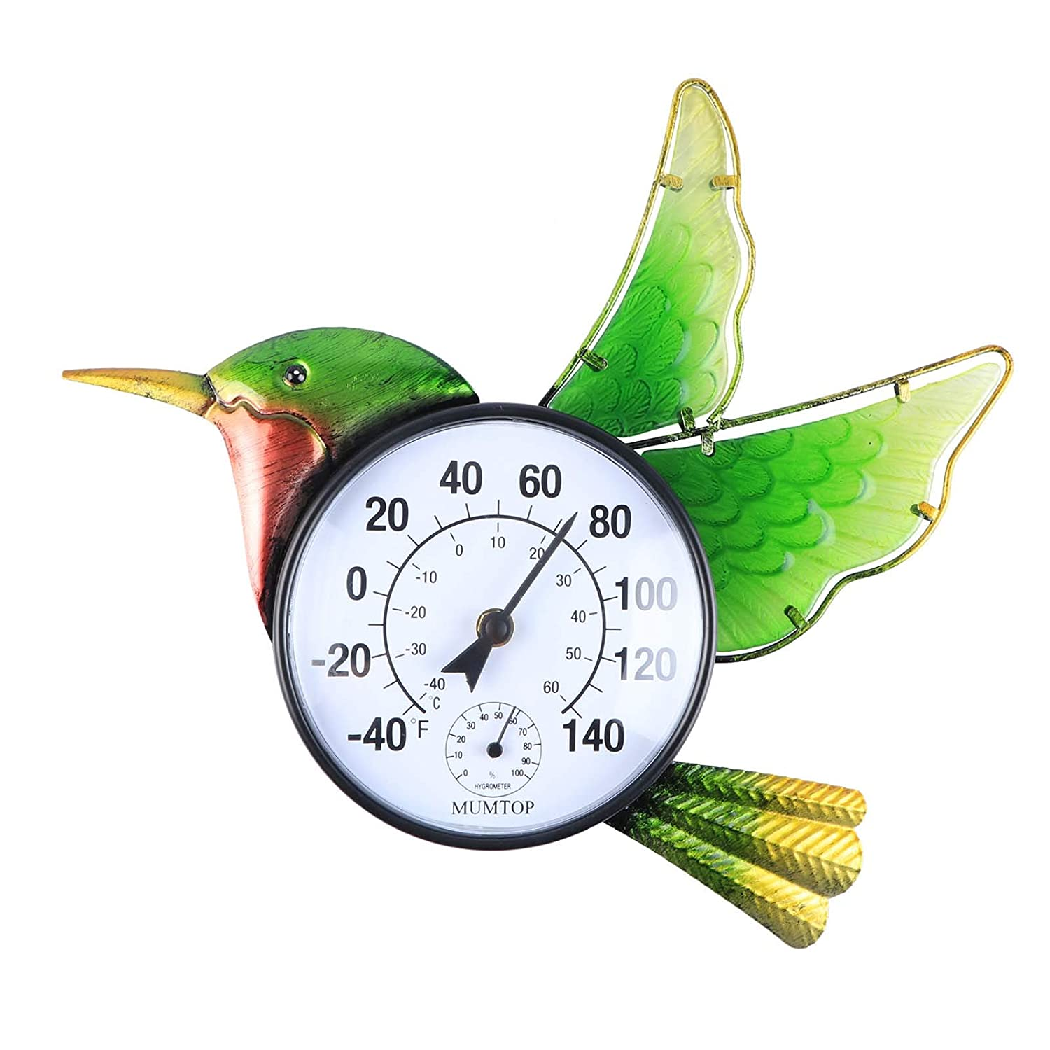 MUMTOP Thermometer Indoor Outdoor Patio Hummingbird Waterproof Wall-Mounted Thermometer Does not Require Any Battery