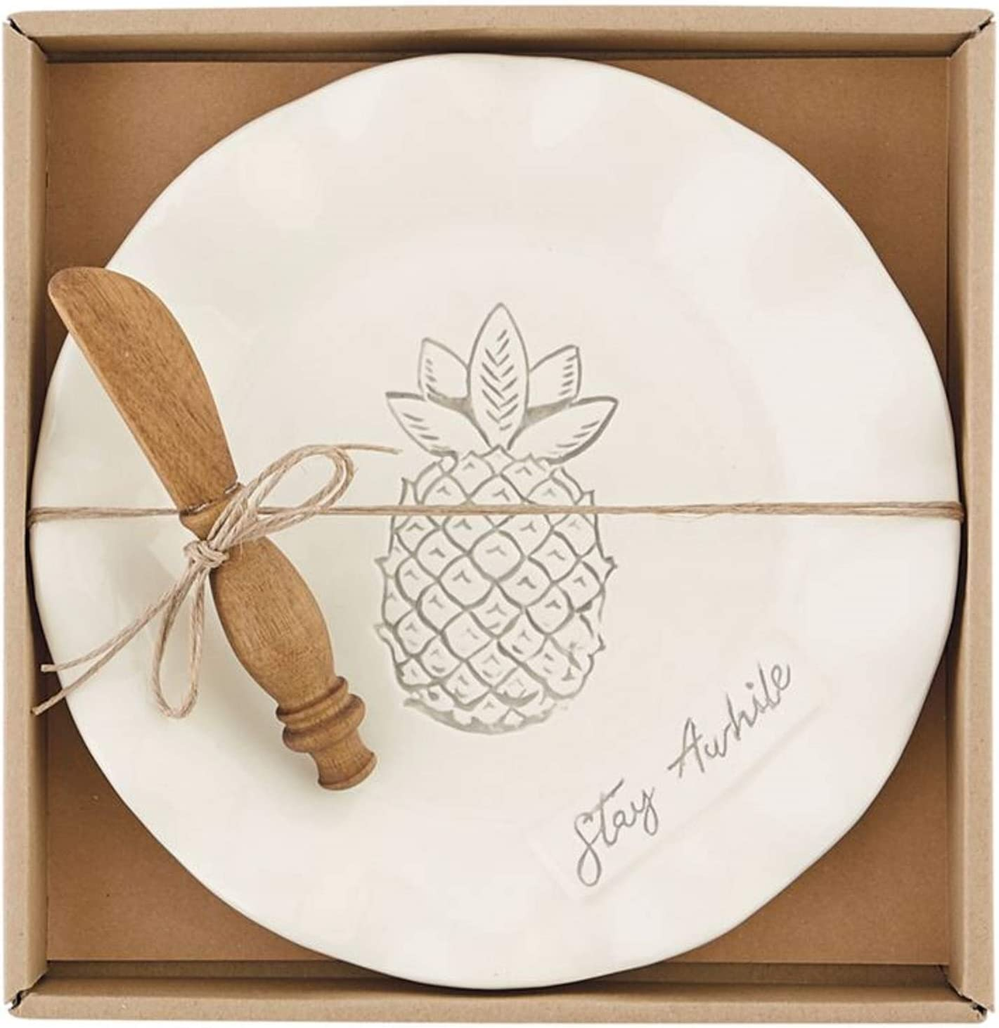 Mud Pie 10 inch Pineapple Cheese and Serving plate with wood spreader