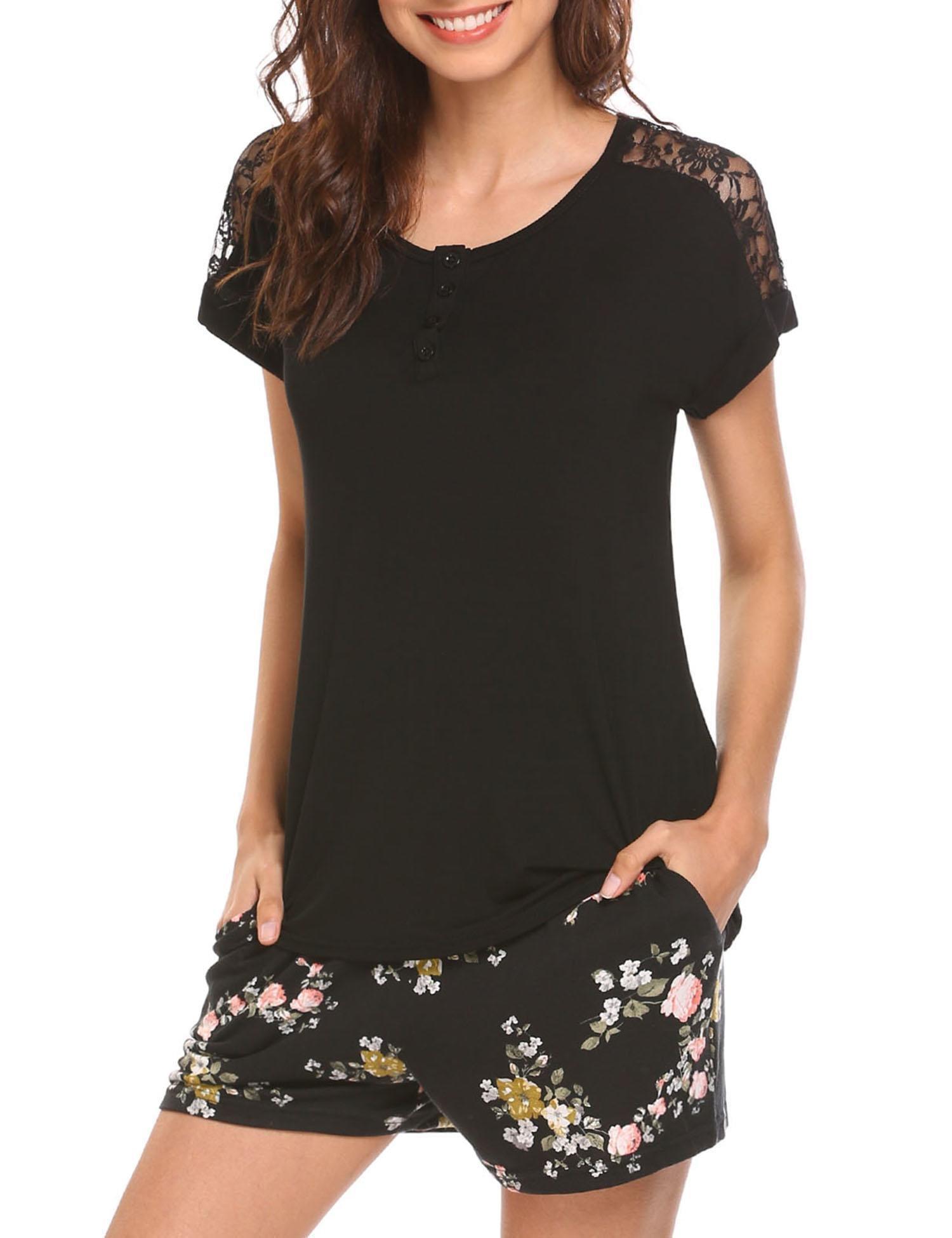 MAXMODA Cotton Cami Shorts Sleep Set Nightgown Sets for Women Black L