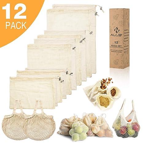 Amazon.com: HJJS - Bolsas reutilizables de malla de algodón ...