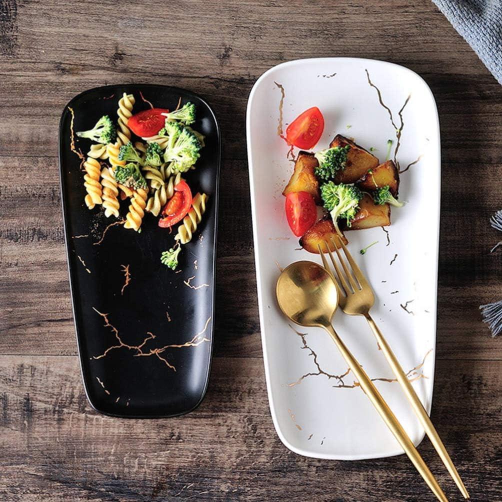 Rettangolare di Piccole Dimensioni TOPBATHY Stoviglie in Ceramica Piatti della Cucina Occidentale Stoviglie Piatti Neri Gioielli Vassoio Decorativo Piatto da Dessert Accessori da Sposa