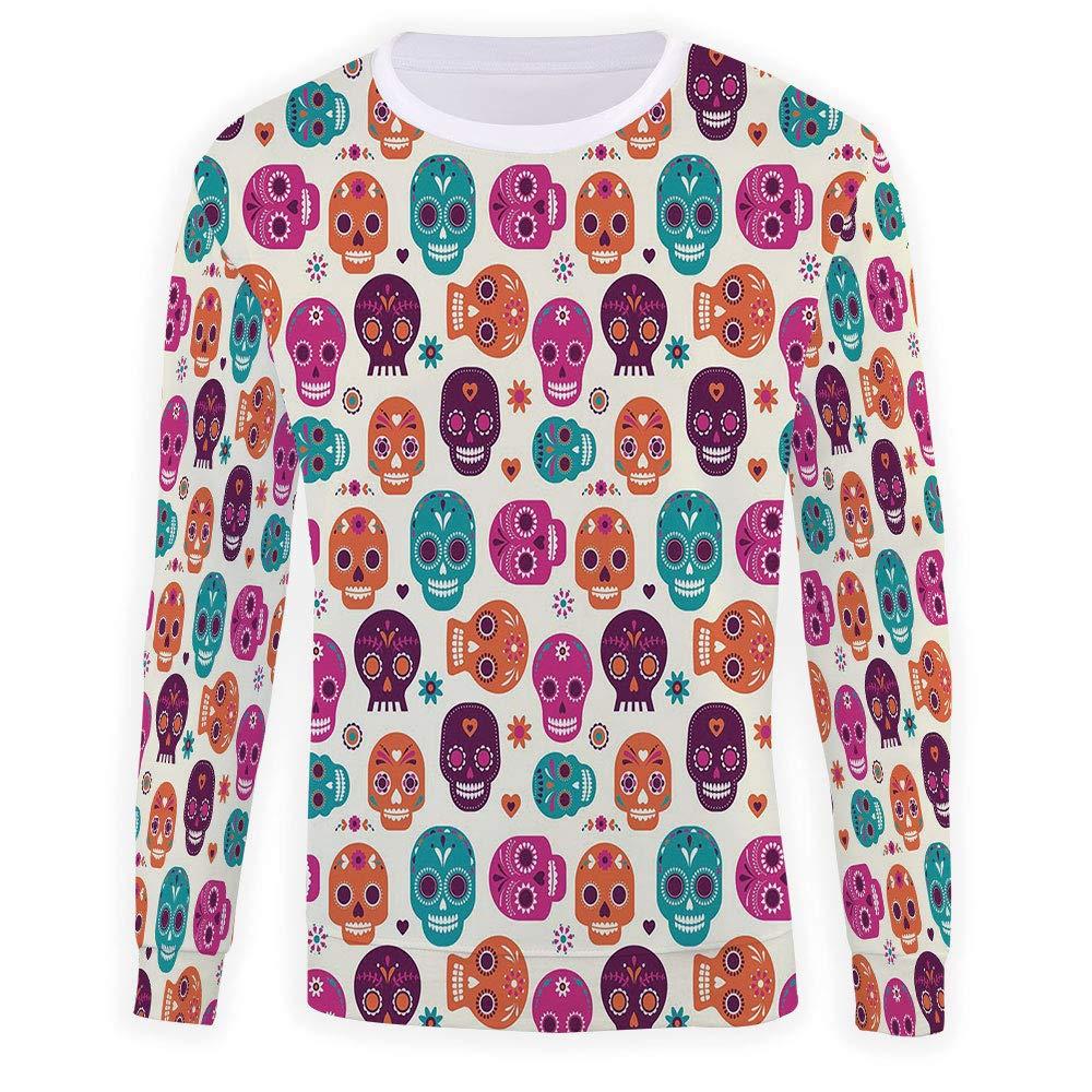 MOOCOM Mens Striped Decor Sweatshirt Pullover