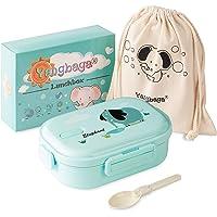 Yangbaga Fiambrera Infantil Acero Inoxidable-Caja de Bento Hermética con 2 Compartimentos y Cubiertos para Niño,Escuela…