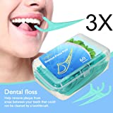 Dental Floss - LuckyFine 60 Pieces/Boxes, Interdental Brush, Dental Floss, Teeth Stick, Tooth Picks, High Quality Flat Dental Floss Toothpick, Teeth Cleaning (Pack of 3)