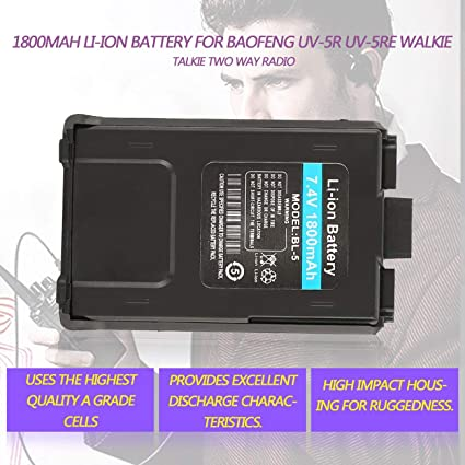 Batería de Iones de Litio 1800mAh para Radio bidireccional Baofeng UV-5R UV- 5RE Walkie Talkie: Amazon.es: Electrónica