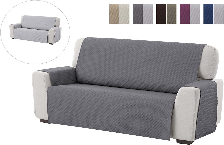 textil-home Funda Cubre Sofá Adele, 4 Plazas, Protector para Sofás Acolchado Reversible. Color Gris