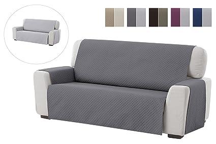 textil-home Funda Cubre Sofá Adele, 2 Plazas, Protector para Sofás Acolchado Reversible. Color Gris