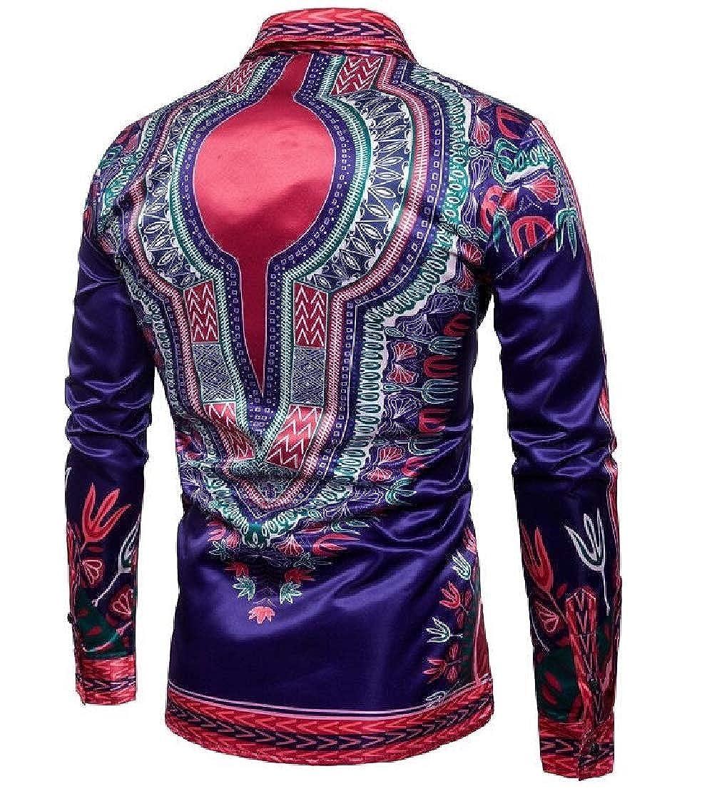 C/&H Mens Shirt Bright Dashiki Long Sleeve Print African Button Down Shirt