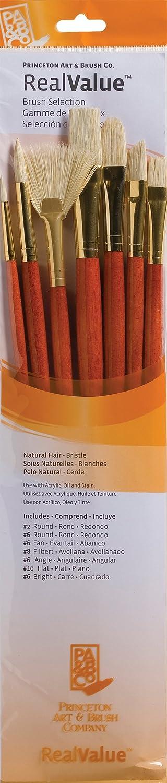 Princeton Art & Brush Real Value Natural Bristle Brush Set, Round Size 2 and 6, Bright Size 6, Filbert Size 8, Fan Size 6, Flat Size 10, Angle Size 6