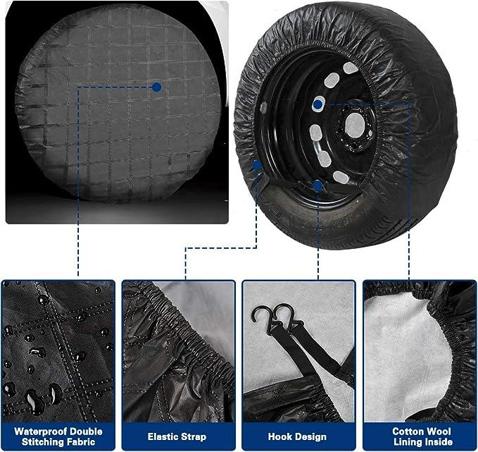 LNIEGE Waterproof Sun Protector Tire Cover Spare Wheel Tire Cover Black PVC Spare Wheel Cover for Car Caravan Tyre