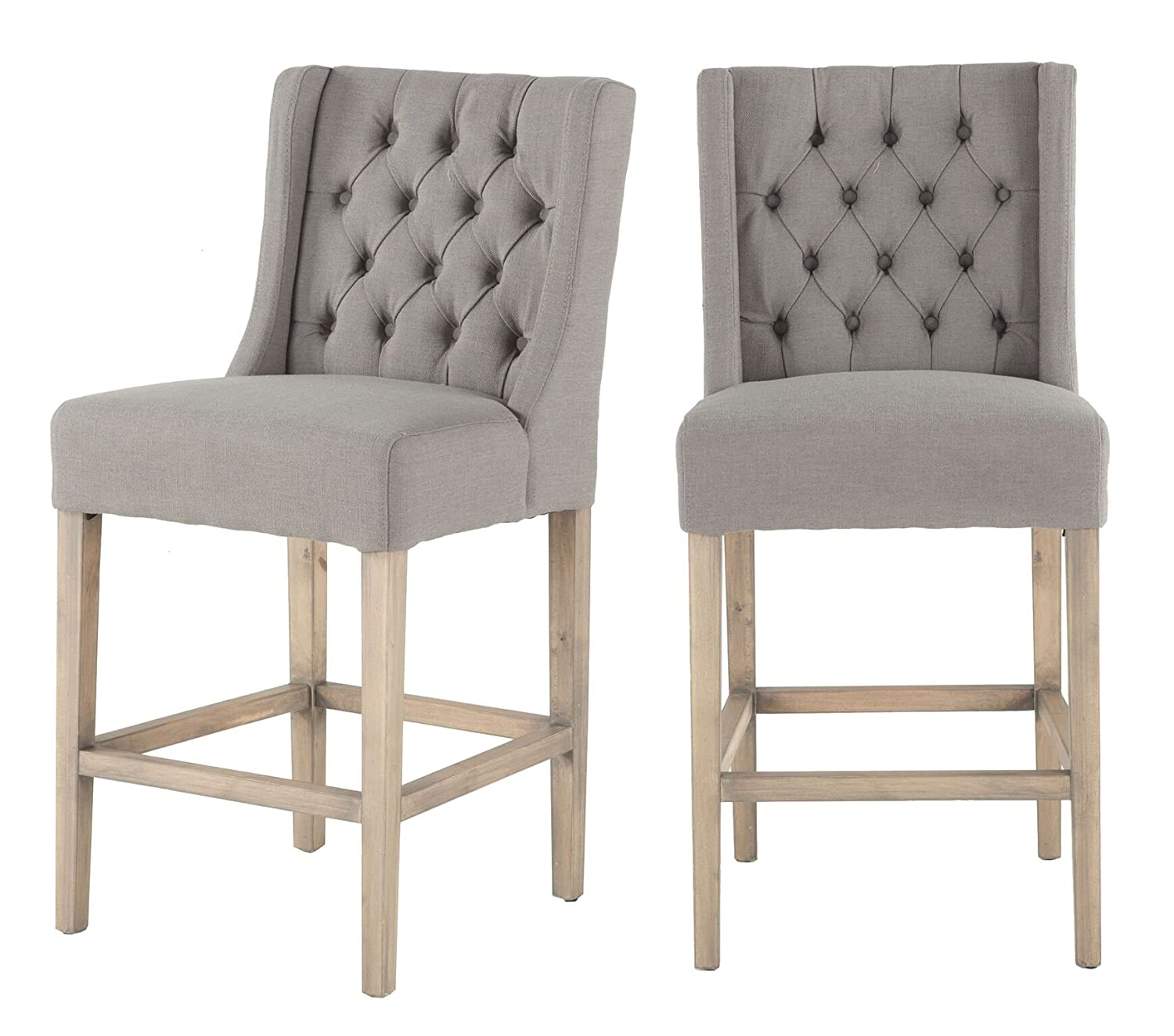 free shipping 8beb3 7469f Amazon.com: World Interiors ZWCL83-OWGN-2X Tufted Grey Linen ...