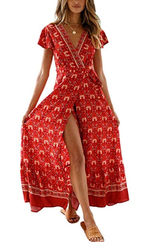 ZIYYOOHY Damen Elegant V-Ausschnitt Kurze Ärmel Strandkleid Boho Blumendruck Split Kleid Sommerkleid MaxiKleid Mit Gürtel …