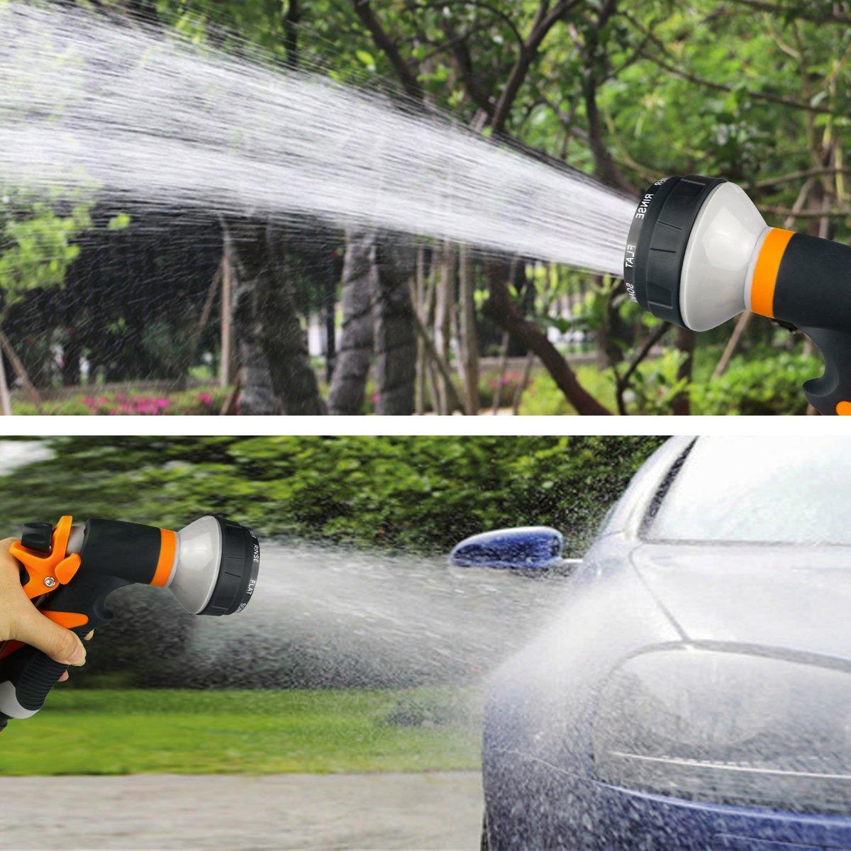 Garten Handbrause Spritze Gun-8 Sprühen Modi-Flow Control Einstellung Knauf-Multifunktionale High Druck für Auto waschen, Verstellbarer Wasserdurchfluss Robust und Leistungsstark für Garten Bewässerung, Autowäsche und Haustiereduschen