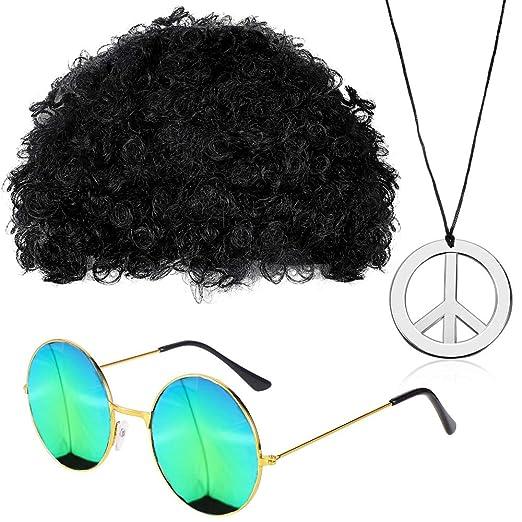 Dingcaiyi Accesorios Hippy Afro Wig Establece El Estilo ...