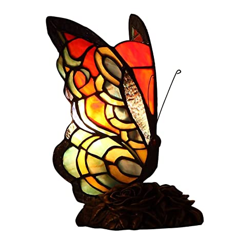 Bieye L10525 7 Inches Butterfly Tiffany Style Stained Glass Accent