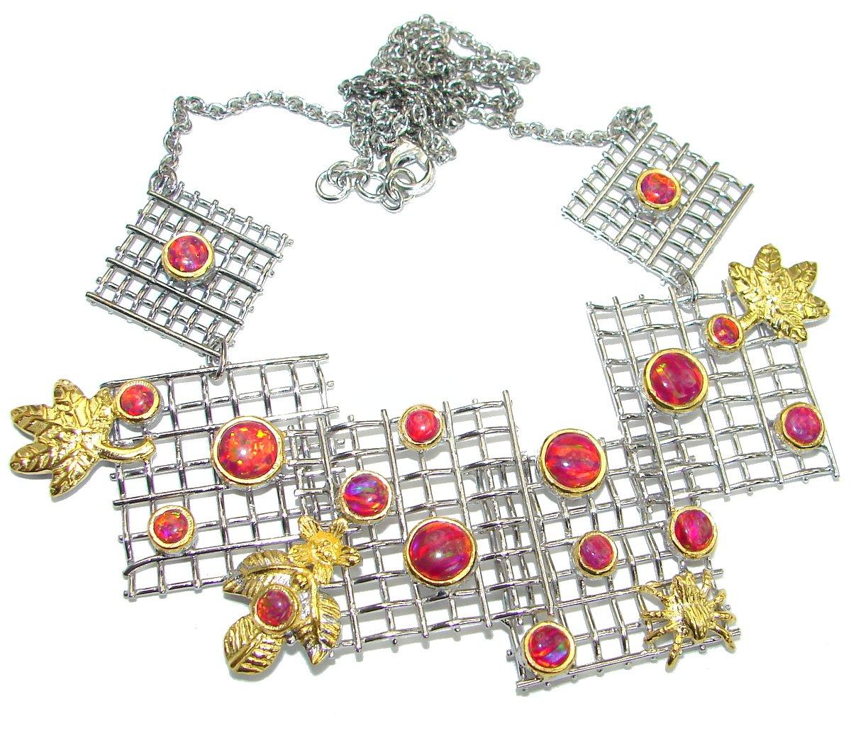 SilverFury Fire Opal Women 925 Sterling Silver Necklace - FREE GIFT BOX