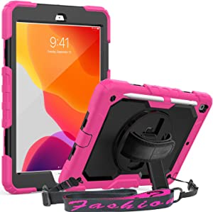 iPad 7th/ 8th Generation (10.2 inch) Case, SEYMAC 3 Layer Shockproof Case with Built-in Screen Protector Pencil Holder 360 Degrees Swivel Stand Hand Strap for 2020/2019 New iPad 10.2 (Pink/Black)