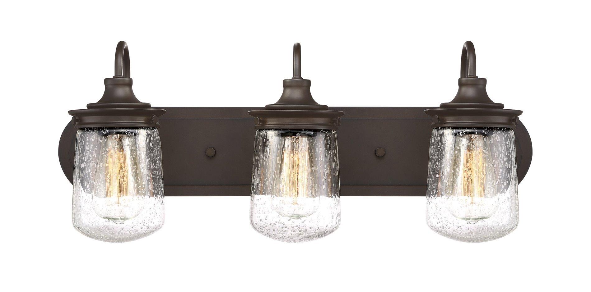 Kira Home Mason 23'' 3-Light Industrial Vanity/Bathroom Light + Seeded Glass Shade, Oil-Rubbed Bronze Finish by Kira Home (Image #2)