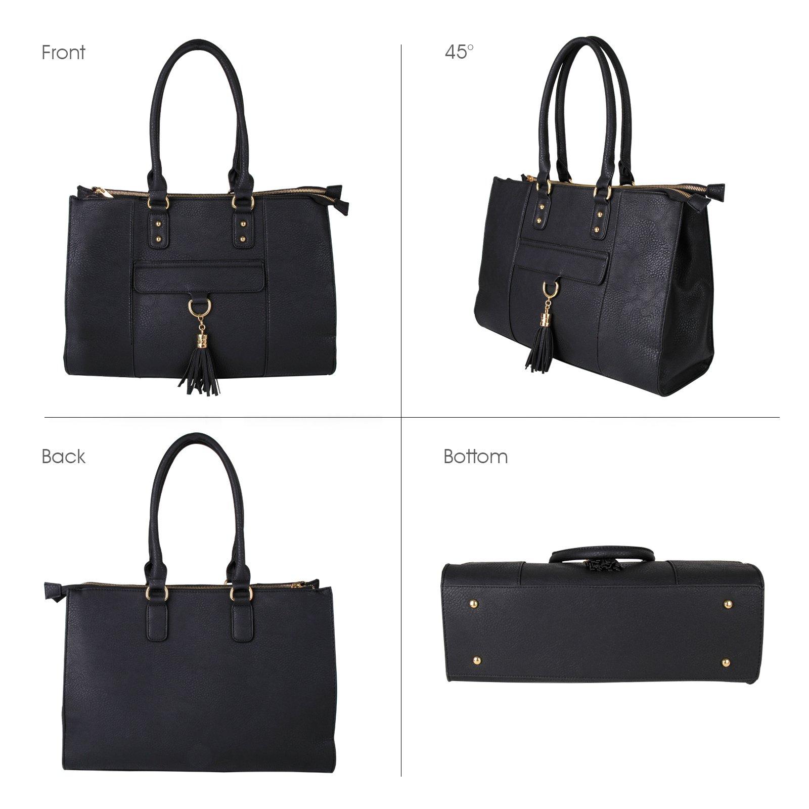 Eva & Evan 2018 New Women Satchel Handbags Shoulder Bag with Tassels Top Handle Large PU Leather Adjustable Strap Black by BAYTTER (Image #5)