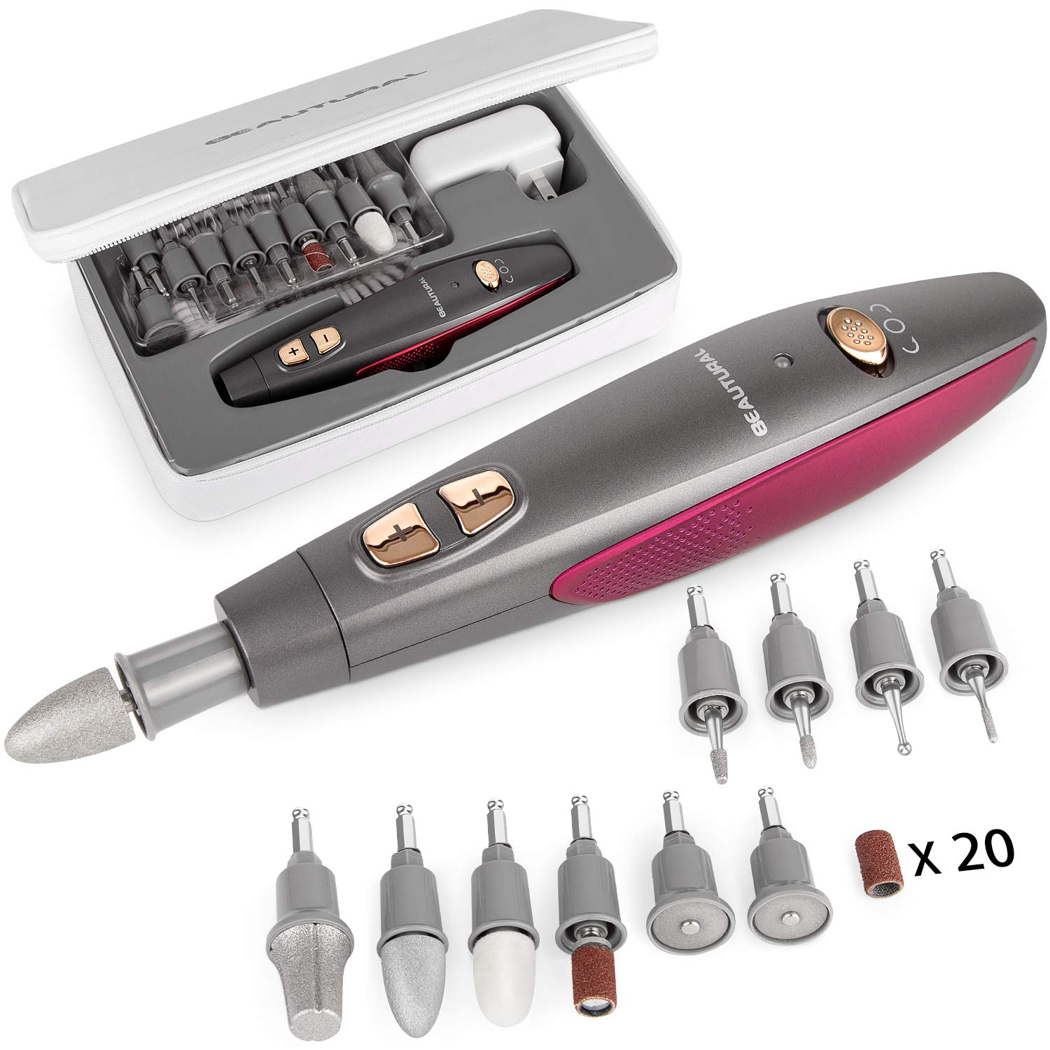 BEAUTURAL Professional Manicure and Pedicure Kit, 10-piece Attachments and 20 Sanding Bands for Hand/Foot Nail Care, Powerful Nail Drill Kit [Upgraded Version] : Beauty