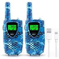 Fairwin Walkie Talkies para Niños, PMR 446 MHz 8 Canales LCD Pantalla Función VOX Linterna Incorporado con Larga…