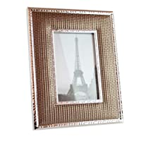 SXELODIE Photo Frame Leather Metal Gold, Picture Frames With Mount(4 * 6,5 * 7),4 * 6